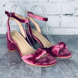 Liliana Velvet Ankle Strap Bow Fuchsia Block Heel